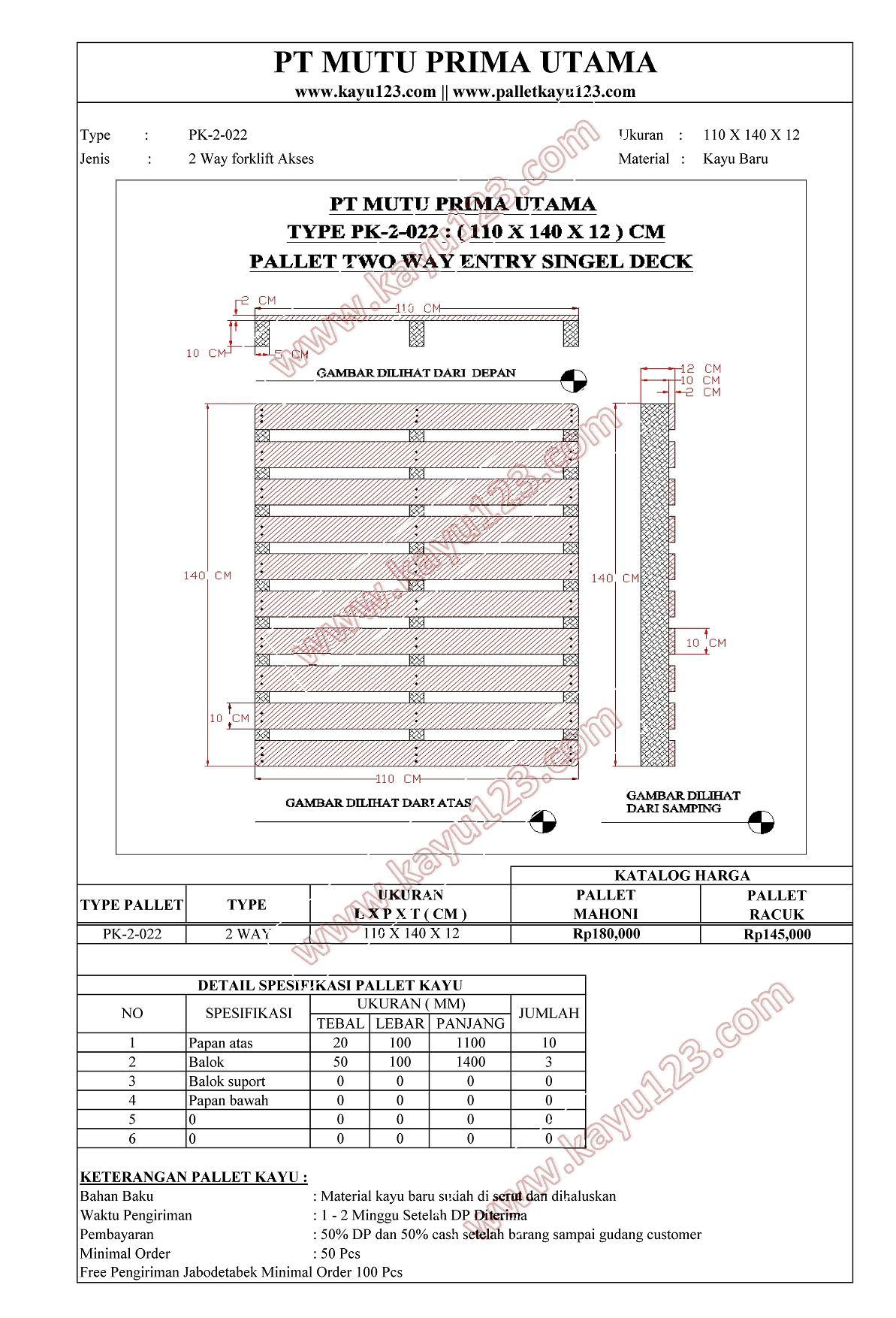 HARGA JUAL PALLET KAYU TYPE PK-2-022